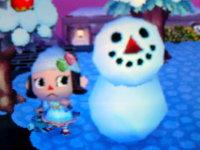 雪だるまと2ショット